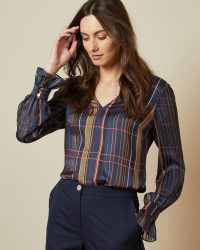 TED BAKER TOFFIE V neck checked top in navy