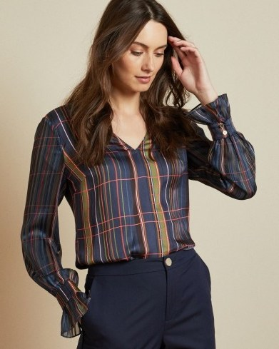TED BAKER TOFFIE V neck checked top in navy - flipped