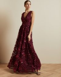 TED BAKER DAYYA V neck maxi dress in oxblood / dark red occasion dresses