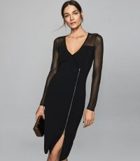 REISS VALENCIA ZIP DETAILED BODYCON DRESS BLACK ~ stylish partywear