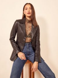 REFORMATION Veda Bowery Leather Blazer in Black