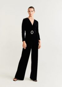 Mango Velvet long jumpsuit in black ~ diamante belt jumpsuits