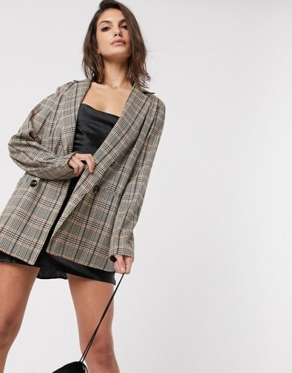 Vila double breasted blazer in brown check - flipped