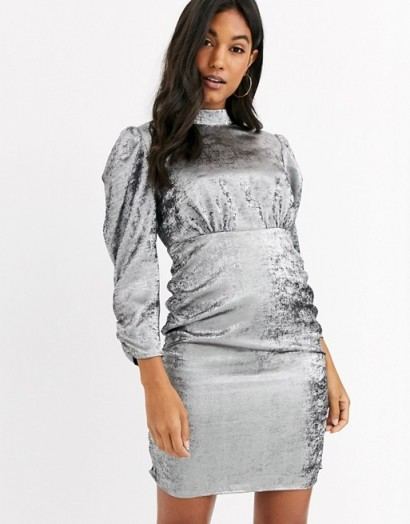 Vila mini dress with ruched sleeves in silver | high neck gathered-detail dresses
