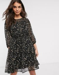 Vila prairie floral mini dress with piping detail in black multi / sheer overlay dresses
