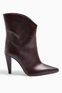 TOPSHOP VILLA Vegan Burgundy Boots / point toe ankle boot