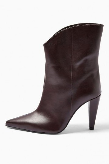 TOPSHOP VILLA Vegan Burgundy Boots / point toe ankle boot - flipped