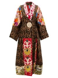 RIANNA + NINA Vintage patchwork embroidered-velvet robe coat in black – mixed florals – luxury robes