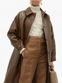 KASSL EDITIONS Vinyl-coated linen-blend coat in brown ~ effortlessly stylish coats