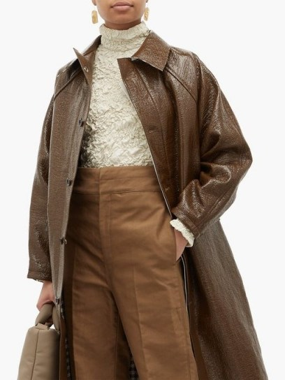 KASSL EDITIONS Vinyl-coated linen-blend coat in brown ~ effortlessly stylish coats - flipped