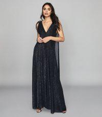 REISS VIVIENNE METALLIC MAXI DRESS NAVY ~ feminine event wear