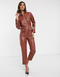 Warehouse faux leather utility boilersuit in brown