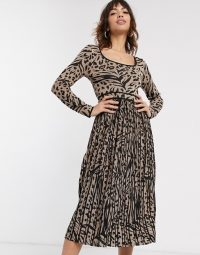 Warehouse leopard print pleated midi dress with metallic threads in gold