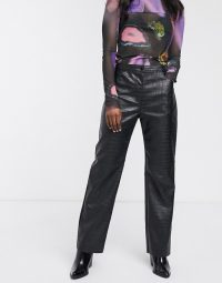Weekday croc effect faux leather trousers in black / crocodile look pants