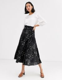 Whistles limited hilde patchwork print tiered midi skirt in black / multi