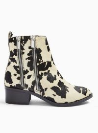 MISS SELFRIDGE White Blessing Cow Print Double Zip Ankle Boots
