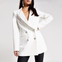 RIVER ISLAND White diamante fringe double breasted blazer