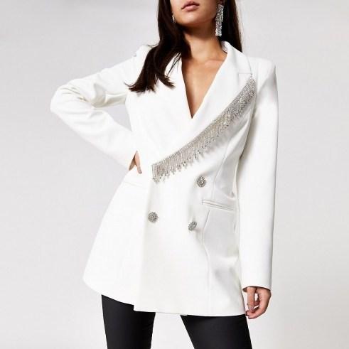 RIVER ISLAND White diamante fringe double breasted blazer - flipped