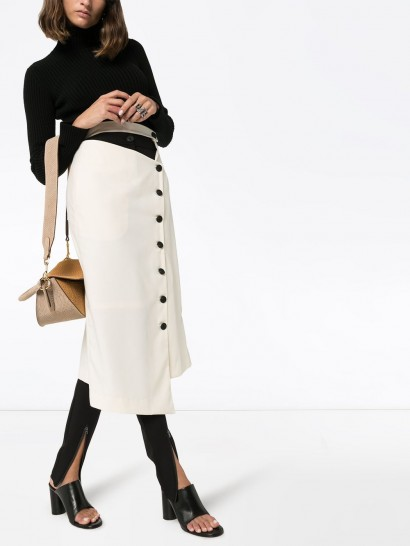 LOW CLASSIC asymmetric button-down skirt ~ cut-out detail skirts