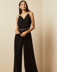 Ted Baker NELLIEH Wide leg velvet jumpsuit in black ~ double strap jumpsuits ~ glam partywear