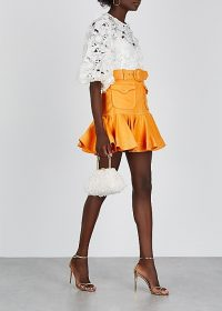 ZIMMERMANN Super Eight Safari linen mini skirt in mango | orange flounce hem skirts