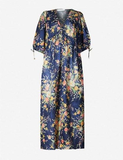 ZIMMERMANN Zinnia cobalt floral-print linen midi dress - flipped