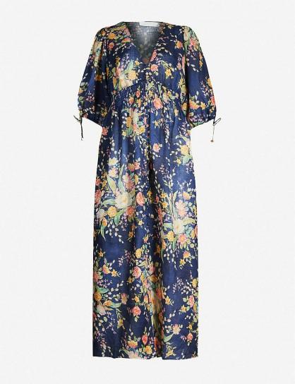 ZIMMERMANN Zinnia cobalt floral-print linen midi dress