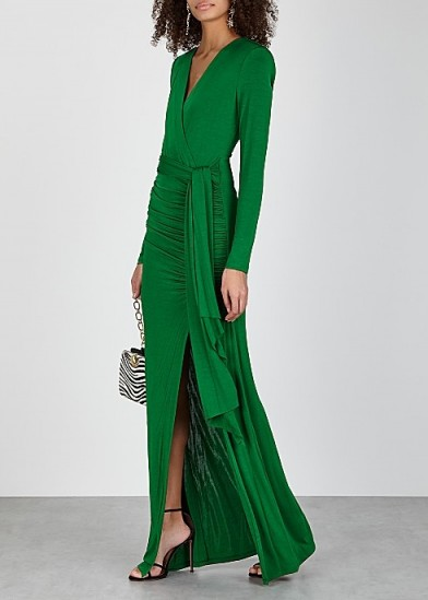 ALICE + OLIVIA Kyra green ruched jersey gown – chic evening gowns
