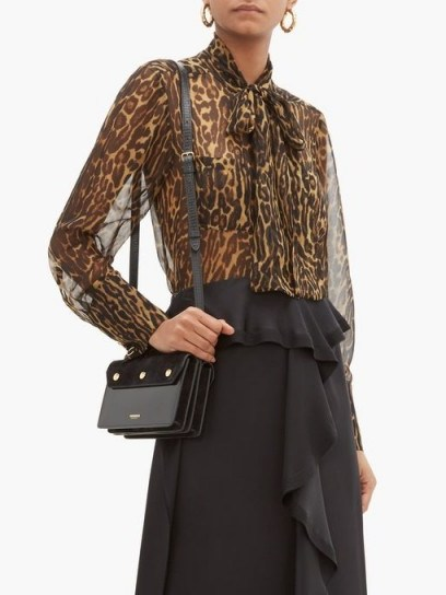 BURBERRY Amelie leopard-print tie-neck mulberry-silk blouse ~ sheer floaty blouses - flipped