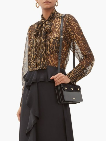 BURBERRY Amelie leopard-print tie-neck mulberry-silk blouse ~ sheer floaty blouses