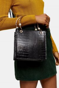 Topshop ARIEL Black Pearl Tote Bag – embellished handbags