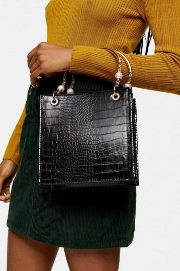 Topshop ARIEL Black Pearl Tote Bag – embellished handbags - flipped
