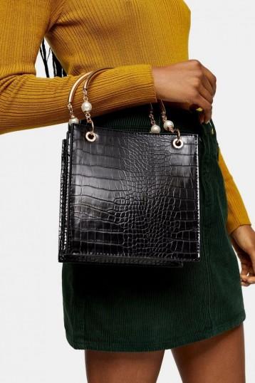 Topshop ARIEL Black Pearl Tote Bag – embellished handbags