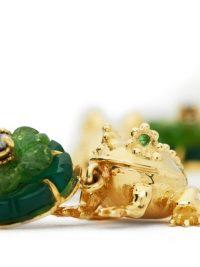 DANIELA VILLEGAS Aristotle diamond, garnet & 18kt gold frog charm earrings ~ detailed jewellery