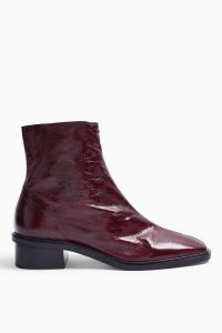 TOPSHOP ARROW Leather Burgundy Flat Leather Boots / dark-red ankle boot