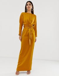 ASOS DESIGN maxi dress with batwing sleeve and wrap waist in satin in mustard – long glamorous evening dresses