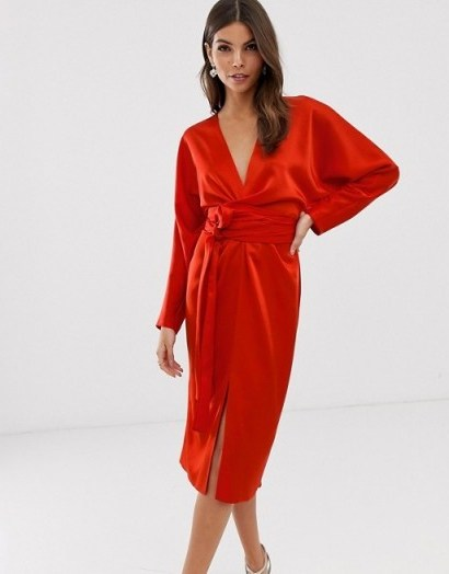 ASOS DESIGN midi dress with batwing sleeve and wrap waist in satin in red | deep V-front party dresses - flipped