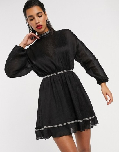 ASOS DESIGN textured chiffon skater mini dress with metallic trim detail – glamorous lbd