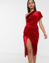 ASOS DESIGN tinsel velvet wrap midi dress in red – glamorous party dresses