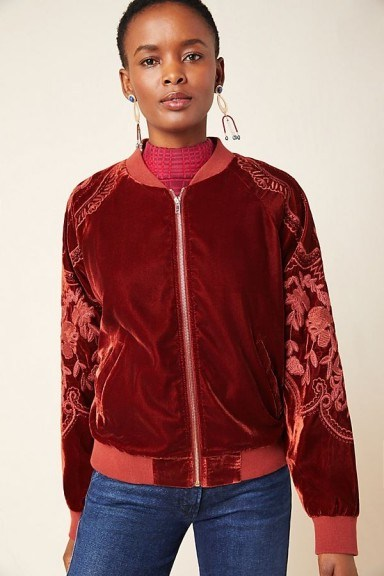 Skies Are Blue Lisanne Embroidered Velvet Bomber Jacket in Wine - flipped
