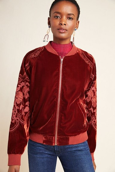Skies Are Blue Lisanne Embroidered Velvet Bomber Jacket in Wine