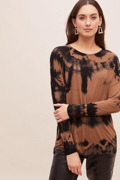 ANTHROPOLOGIE Nati Tie-Dye Top in Brown