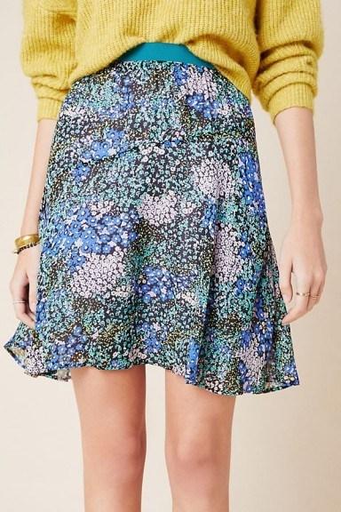 Maeve Kerry Mini Skirt in Blue Motif / flippy hemline skirts - flipped