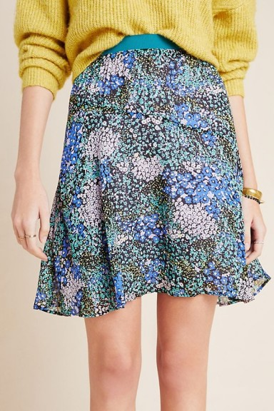 Maeve Kerry Mini Skirt in Blue Motif / flippy hemline skirts