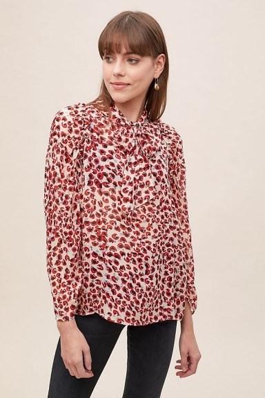 MUNTHE Jadyn Leopard-Print Blouse in Red Motif / neck tie blouses - flipped