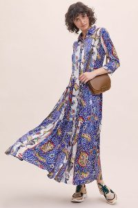 Jessica Russell Flint Midnight West Shirtdress in Blue Motif – maxi shirt dresses