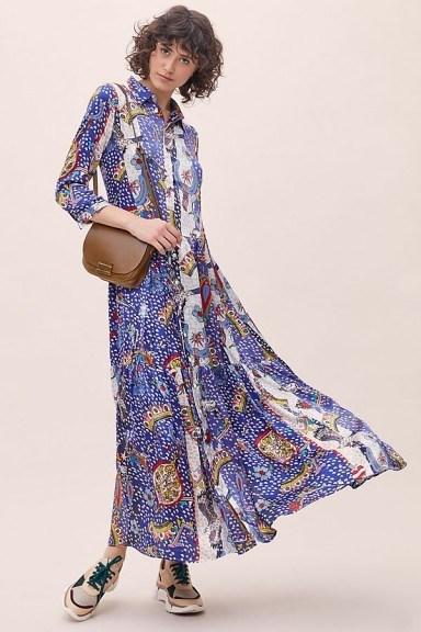 Jessica Russell Flint Midnight West Shirtdress in Blue Motif – maxi shirt dresses - flipped