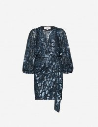 BA&SH Ginger metallic leopard-print silk-blend dress in dark blue ~ evening glamour