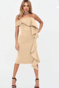 LAVISH ALICE bardot exaggerated frill scuba midi dress in beige – occasion glamour