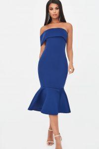LAVISH ALICE bardot scuba peplum hem midi dress in navy – blue strapless bodycon